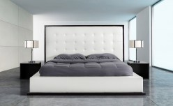 Beth Wenge With White Leatherette Bed Available Online in Dallas Fort Worth Texas