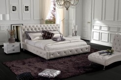 VIG Glossy White Leatherette Bed Available Online in Dallas Fort Worth Texas
