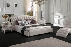 Modrest White Leatherette Bed Available Online in Dallas Fort Worth Texas