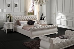 Modrest White Tufted Leatherette Bed Available Online in Dallas Fort Worth Texas