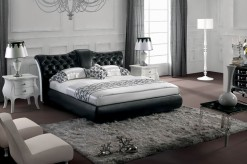 Modrest Black Tufted Leatherette Bed Available Online in Dallas Fort Worth Texas