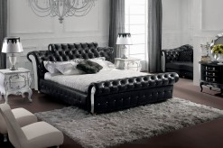 Retro Black Tufted Leatherette Bed Available Online in Dallas Fort Worth Texas