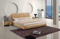 Tufted Beige Leatherette Bed Available Online in Dallas Fort Worth Texas