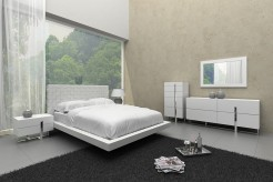 Voco White Leatherette Bed Available Online in Dallas Fort Worth Texas