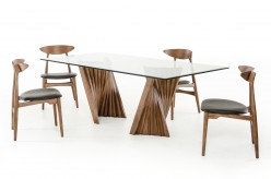 VIG Corbin Walnut & Glass Dining Table Available Online in Dallas Fort Worth Texas