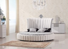 Modrest C645 White Bonded Leather Round Bed With Mattress Available Online in Dallas Fort Worth Texas