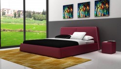 Modrest D537 Burgundy & White Bonded Leather Bed Available Online in Dallas Fort Worth Texas