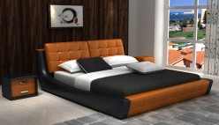 Modrest D Orange & Black Bonded Leather Bed Available Online in Dallas Fort Worth Texas