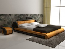 Modrest D545 Orange & Black Bonded Leather Bed Available Online in Dallas Fort Worth Texas