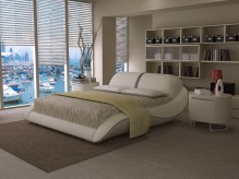 Modrest J227 White & Grey Bonded Leather Bed Available Online in Dallas Fort Worth Texas