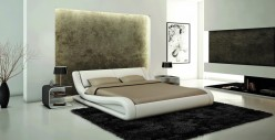Modrest J214 White Eco-leather Bed Available Online in Dallas Fort Worth Texas
