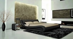 Modrest J214B Black Eco-leather Bed Available Online in Dallas Fort Worth Texas