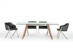 Stanis Glass & Walnut Dining Table Available Online in Dallas Fort Worth Texas