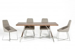 Stark Walnut & Stainless Steel Dining Table Available Online in Dallas Fort Worth Texas