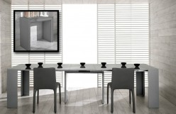 VIG Modrest Morph Ultra Compact Extendable Grey Gloss Dining Table Available Online in Dallas Fort Worth Texas