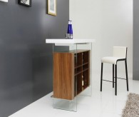 Sven White & Walnut Floating Bar Table Available Online in Dallas Fort Worth Texas