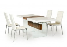 VIG Sven White & Walnut Floating Extendable Dining Table Available Online in Dallas Fort Worth Texas