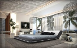 Marquee Eco-leather Platform Bed With Led Lights Available Online in Dallas Fort Worth Texas