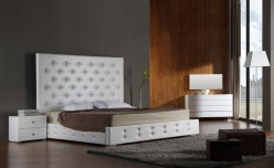 Elbrus White Leather Platform Bed Available Online in Dallas Fort Worth Texas