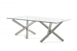 VIG Modrest Quartz Rectangular Glass Dining Table Available Online in Dallas Fort Worth Texas
