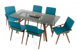 VIG Zeppelin Smoked Glass Dining Table Available Online in Dallas Fort Worth Texas