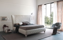 Estro Salotti Nathan White Leather Bed Available Online in Dallas Fort Worth Texas