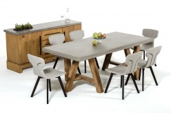 Civic Concrete & Acacia Dining Table Available Online in Dallas Fort Worth Texas