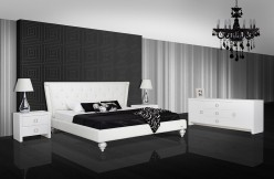 A&X Monica White Leatherette Bed Available Online in Dallas Fort Worth Texas