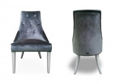Charlotte Grey Velour & White High Gloss Dining Chair Available Online in Dallas Fort Worth Texas