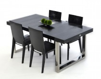 VIG A&X Skyline Modern Black Crocodile Lacquer Dining Table Available Online in Dallas Fort Worth Texas