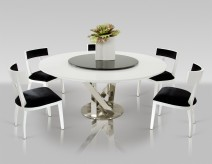 VIG A&x Spiral Round White Dining Table With Lazy Susan Available Online in Dallas Fort Worth Texas