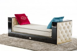 VIG Bellagio Black Crocodile And Beige Fabric Chaise Available Online in Dallas Fort Worth Texas