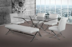 VIG Modrest Adderley Stainless Steel With Glass Top Dining Table Available Online in Dallas Fort Worth Texas