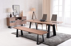 VIG Corey Walnut & Glass Dining Table Available Online in Dallas Fort Worth Texas