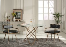 VIG Rosario Round Rosegold Dining Table Available Online in Dallas Fort Worth Texas