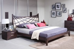 Prism Brown & Beige Bonded Leather Bed Available Online in Dallas Fort Worth Texas