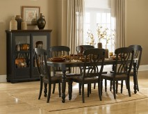 Ohana Black/Cherry Oval 7pc Dining Room Set Available Online in Dallas Fort Worth Texas