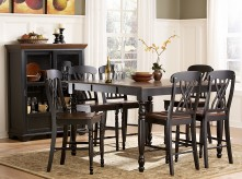 Ohana Black/Cherry 7pc Rectangular Counter Height Dining Room Set Available Online in Dallas Fort Worth Texas