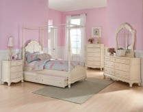 Homelegance Cinderella Full White 5pc Canopy Bedroom Set Available Online in Dallas Fort Worth Texas