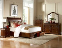 Homelegance Karla Cherry Queen 5pc Sleigh Platform with Footboard Storage Bedroom Set Available Online in Dallas Fort Worth Texas