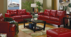 Samuel Red Sofa & Loveseat Set Available Online in Dallas Fort Worth Texas