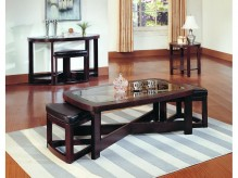 Brussel 3pc Rectangular Coffee Table Set With 2 Stool Available Online in Dallas Fort Worth Texas