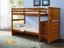 Light Espresso Twin/Twin Stairway Bunk Bed Available Online in Dallas Texas