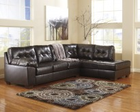 Alliston DuraBlend Chocolate 2pc Sectional Right Side Chaise Available Online in Dallas Fort Worth Texas