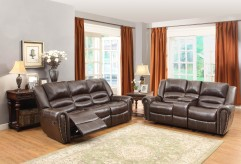 Center Hill 2pc Dark Brown Reclining Sofa & Loveseat Set Available Online in Dallas Fort Worth Texas