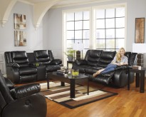 Ashley Linebacker Black Sofa & Console Loveseat Set Available Online in Dallas Fort Worth Texas