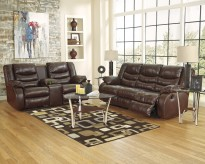 Ashley Linebacker Espresso Sofa & Console Loveseat Set Available Online in Dallas Fort Worth Texas