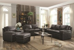 Regalvale Charcoal Leather 2pc Sofa & Loveseat Set Available Online in Dallas Texas