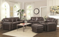 Regalvale Brown Leather 2pc Sofa & Loveseat Set Available Online in Dallas Texas