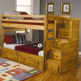Wrangle Hill Full/Full/Twin Trundle Staircase Bunk Bed Available Online in Dallas Fort Worth Texas
